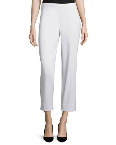 Organic Stretch Twill Slim Ankle Pants, White, Petite