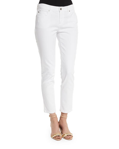 Organic Skinny Ankle Jeans, White, Petite