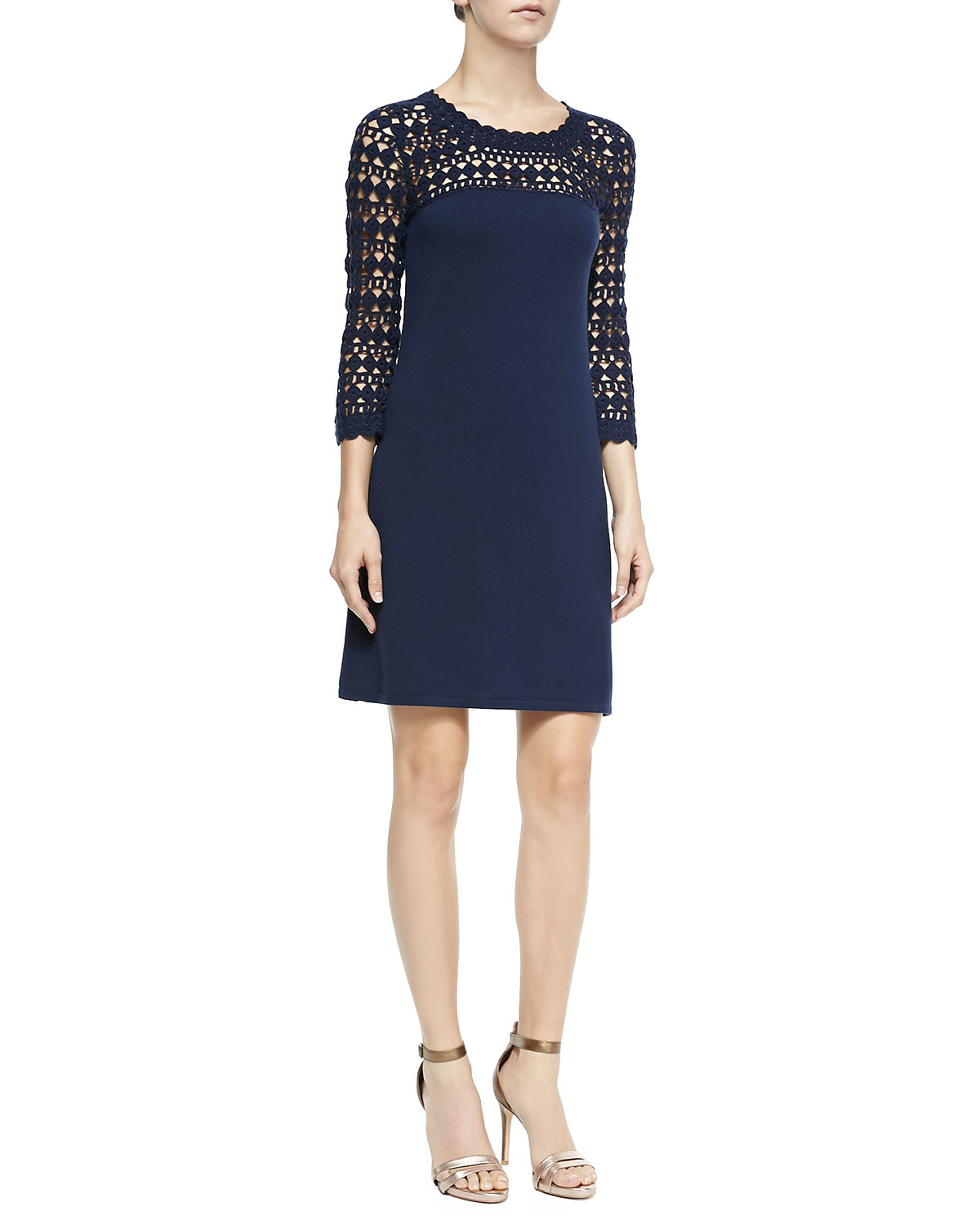 Kariana Wool Crochet Dress, True Navy
