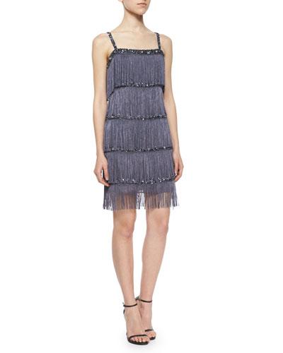 Sleeveless Fringe Cocktail Dress