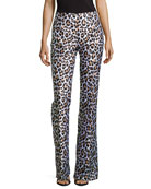Leopard-Print Flared Trousers, White Multi