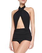 Cross Halter Mio Swimsuit, Black
