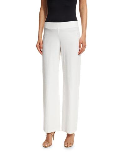 Modern Wide-Leg Stretch-Crepe Pants, White, Petite