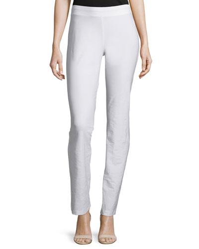 Washable-Crepe Boot-Cut Pants, White