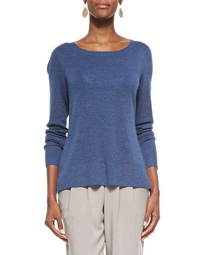 Long-Sleeve Ultrafine Merino Top, Denim, Petite