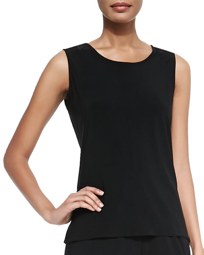 Stretch Knit Long Tank, Black, Petite