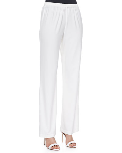 Stretch-Knit Straight-Leg Pants, White, Plus Size