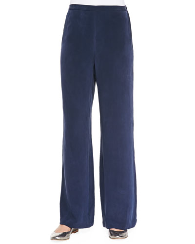 Silk Full-Leg Pants, Navy