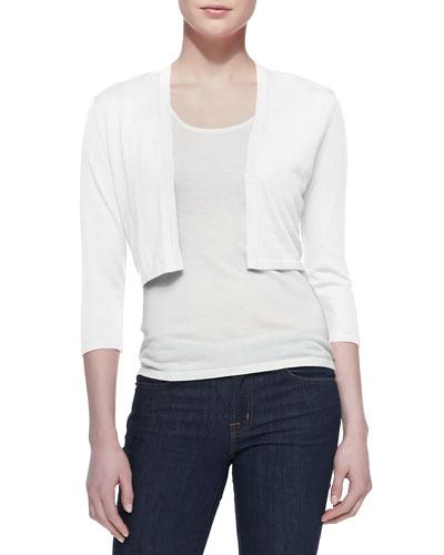 3/4-Sleeve Silk-Cashmere Shrug, White