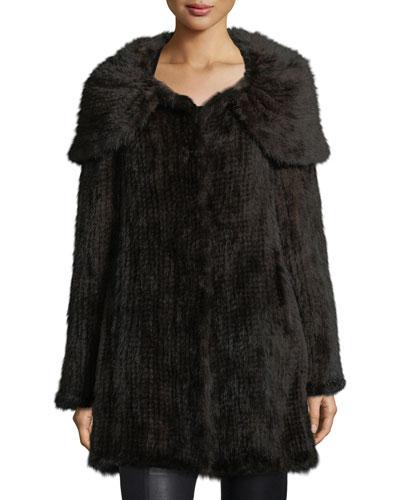 belle fare mink fur oversized collar coat in brown modesens. Black Bedroom Furniture Sets. Home Design Ideas