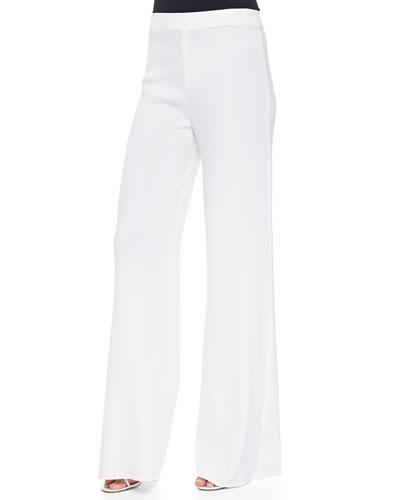 Washable Wide-Leg Pants, White, Plus Size