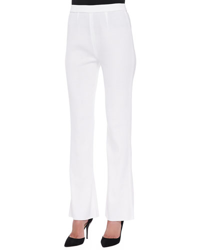 Boot-Cut Knit Pants, White, Petite