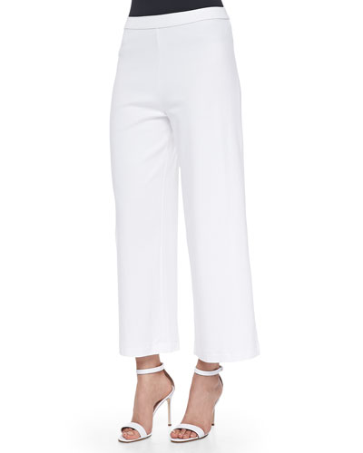 Wide-Leg Interlock Pants, White, Plus Size
