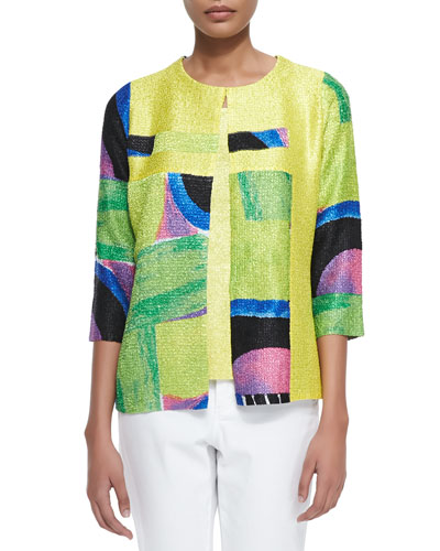 New Abstract Crinkle Jacket, Petite