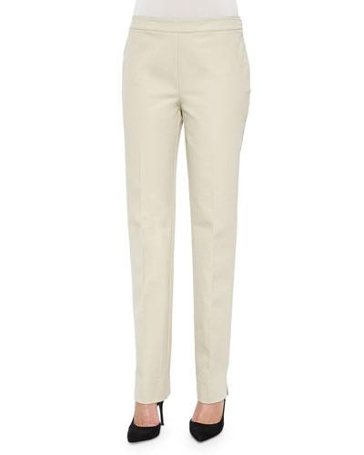 Flat-Front Bleecker Pants, Khaki, Plus Size