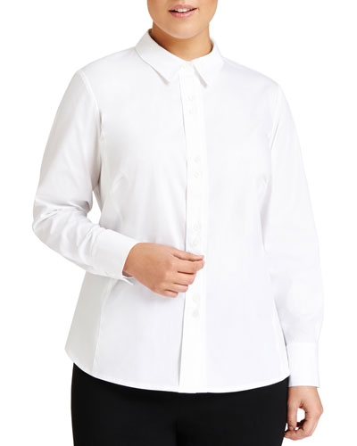 Francine Button-Front Blouse, Plus Size