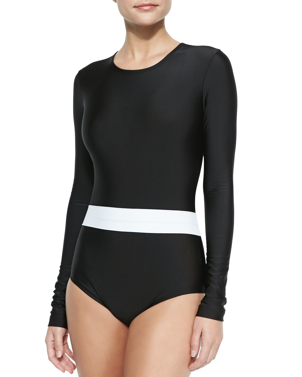 Cover Long-Sleeve One-Piece Swimsuit Black/White
