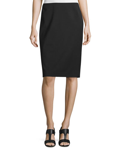Modern Slim Crepe Skirt, Black, Plus Size
