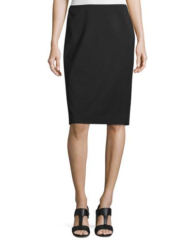 Plus Size Modern Slim Crepe Skirt, Black