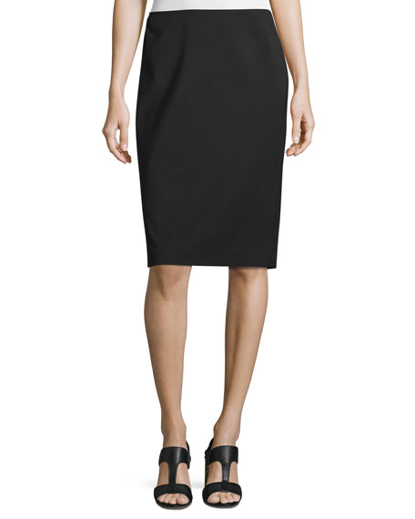 Lafayette 148 New York Plus Size Modern Slim Crepe Skirt, Black