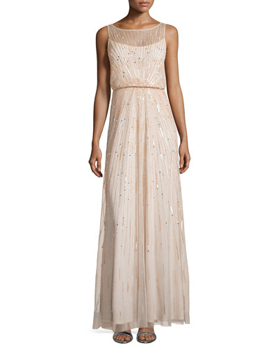 Illusion-Neck Beaded Gown, Blush