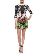 Mirrored Tropics Dress with Three-Quarter Sleeves