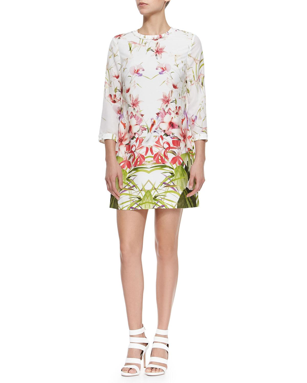 Mirrored Tropics Printed Shift Dress