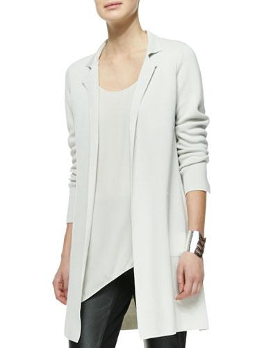 Silk-Cotton Interlock Long Drama Jacket, Plus Size