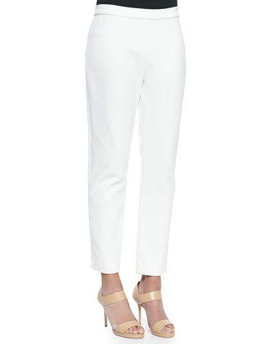 Ponte Slim Ankle Pants, White, Petite