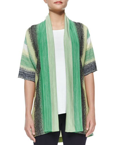 Vertical Striped Short-Sleeve Cardigan