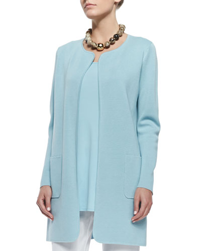 Silk Cotton Interlock Long Jacket, Capri