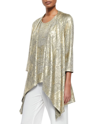 Luminous Jersey Draped Jacket, Plus Size