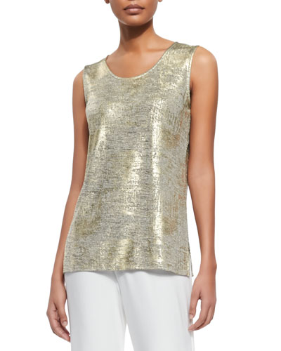 Luminous Long Tank, Gold/Multi, Petite