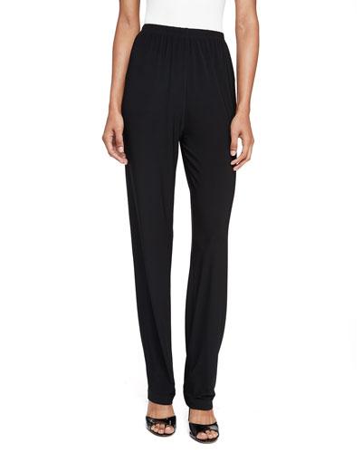 Stretch-Knit Straight-Leg Pants, Black, Petite