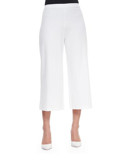 Knit Cropped Wide-Leg Pants, White, Plus Size