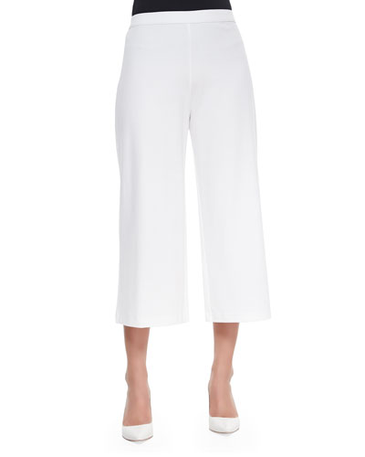 Knit Cropped Wide-Leg Pants, White