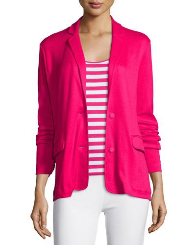 Knit Two-Button Jacket, Azalea
