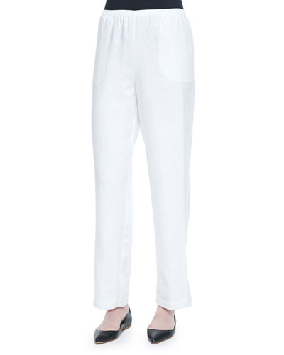 Straight-Leg Lined Linen Pants, White, Petite