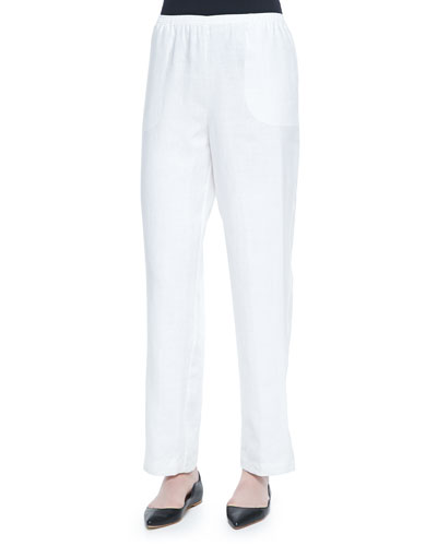 Straight-Leg Lined Linen Pants, White, Plus Size