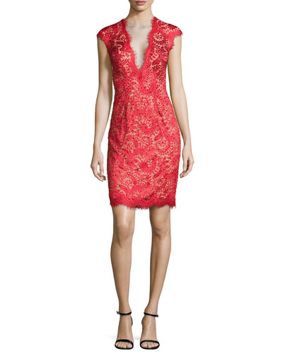 Deep V Illusion Beaded Cocktail Dress, Red