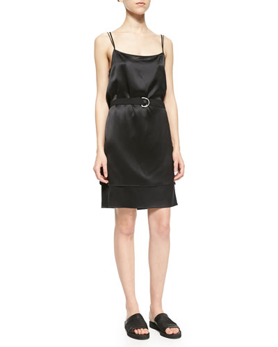 Mere Belted Sleeveless Satin Dress