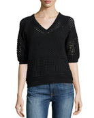 Perforated Mix-Knit Sweater, Black