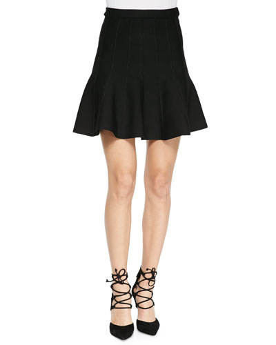 Sabine Flounce Knit Mini Skirt, Black