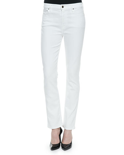 High-Rise Slim Straight Jeans, White