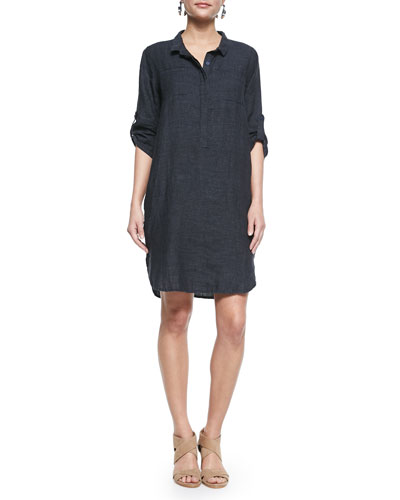 3/4-Sleeve Organic Linen Henley Dress, Denim