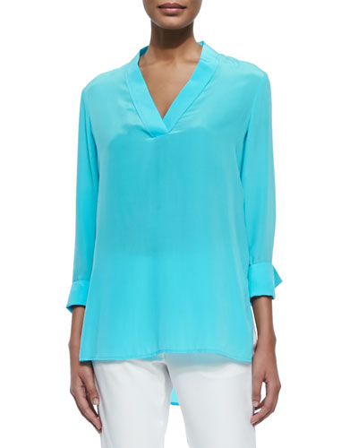 V-Neck High-Low Silk Tunic