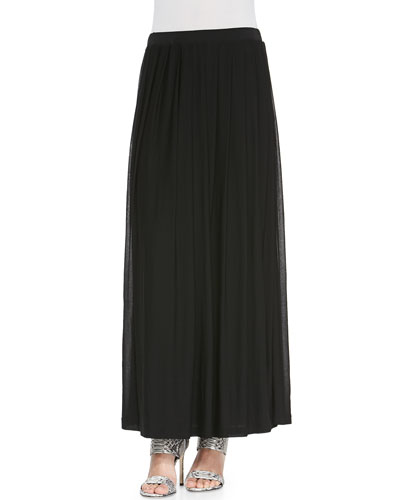 Silk Pleated Maxi Skirt, Petite