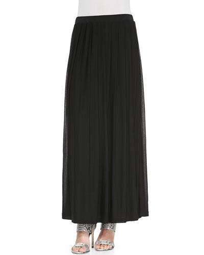Silk Pleated Maxi Skirt, Plus Size