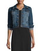 Eileen Fisher Denim Cropped Jacket & Floor-Length Jersey