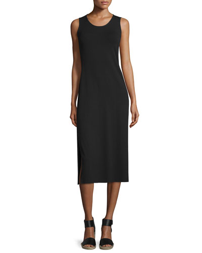 Jersey Midi Dress, Black, Petite